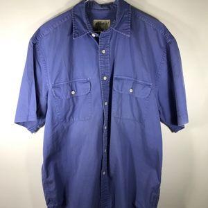 Eddie Bauer Mens Blue Medium Cotton Short Sleeve
